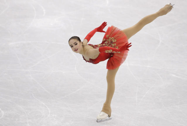 Alina Zagitova of the Olympic Athletes of Russia performs during the women's free figure skating final in the Gangneung Ice Arena at the 2018 Winter Olympics. (AP)