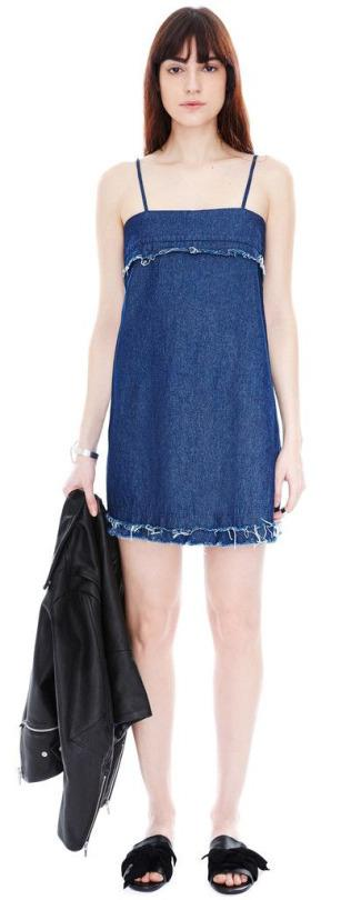 Forget the denim miniskirt in favor of the denim minidress. Veda Dime Raw Denim Dress, $275, available at Veda.