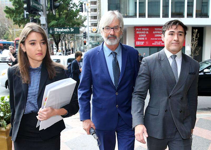 John Jarratt (C) arrives at Downing Centre Court on July 05, 2019 in Sydney, Australia. (Photo by Don Arnold/Getty Images)