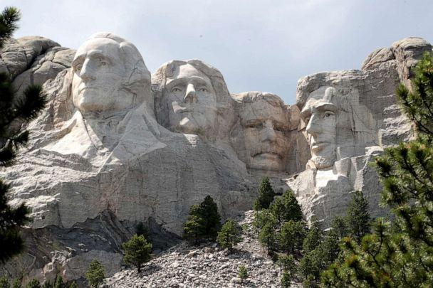 PHOTO: The busts of Presidents George Washington, Thomas Jefferson, Theodore Roosevelt and Abraham Lincoln tower over the Black Hills at Mount Rushmore National Monument in Keystone, South Dakota, on July 01, 2020. (Scott Olson/Getty Images)