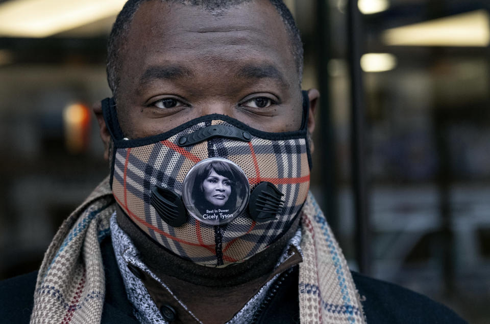 Korey Small waits on line to attend a public viewing at the Abyssinian Baptist Church for Cicely Tyson in the Harlem neighborhood of New York, Monday, Feb. 15, 2021. Tyson, the pioneering Black actress died on Jan. 28. (AP Photo/Craig Ruttle)