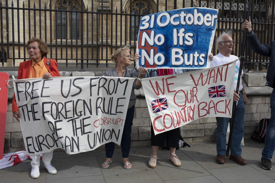 Pro Brexit Leave campaign protesters with messages that 'We Voted Leave' and 'General Election Now' in Westminster on the day after Parliament voted to take control of Parliamentary proceedings and prior to a vote on a bill to prevent the UK leaving the EU without a deal at the end of October, on 5th September 2019 in London, England, United Kingdom. Yesterday Prime Minister Boris Johnson faced a showdown after he threatened rebel Conservative MPs who vote against him with deselection, and vowed to aim for a snap general election if MPs succeed in a bid to take control of parliamentary proceedings to allow them to discuss legislation to block a no-deal Brexit. (photo by Mike Kemp/In Pictures via Getty Images)