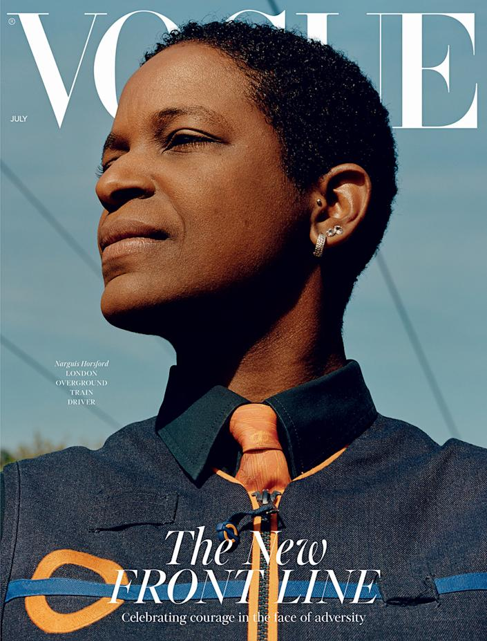 """Train driver Narguis Horsford, on British Vogue's July 2020 issue.<span class=""""copyright"""">Courtesy Jamie Hawkesworth and Condé Nast Britain</span>"""
