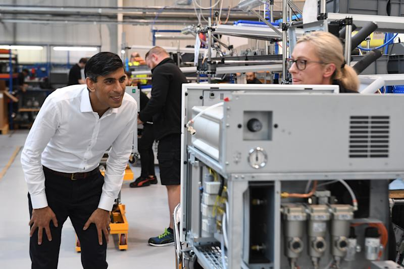 Chancellor of the Exchequer Rishi Sunak during a visit to Peak Scientific in Glasgow, a Scottish manufacturer of gas generators for analytical laboratories. (Photo by Andy Buchanan/PA Images via Getty Images)