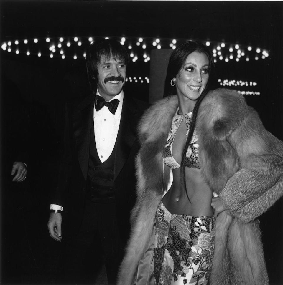 <p>Showing off her abs in a two-piece outfit and fur coat while attending the Golden Globes with Sonny. </p>