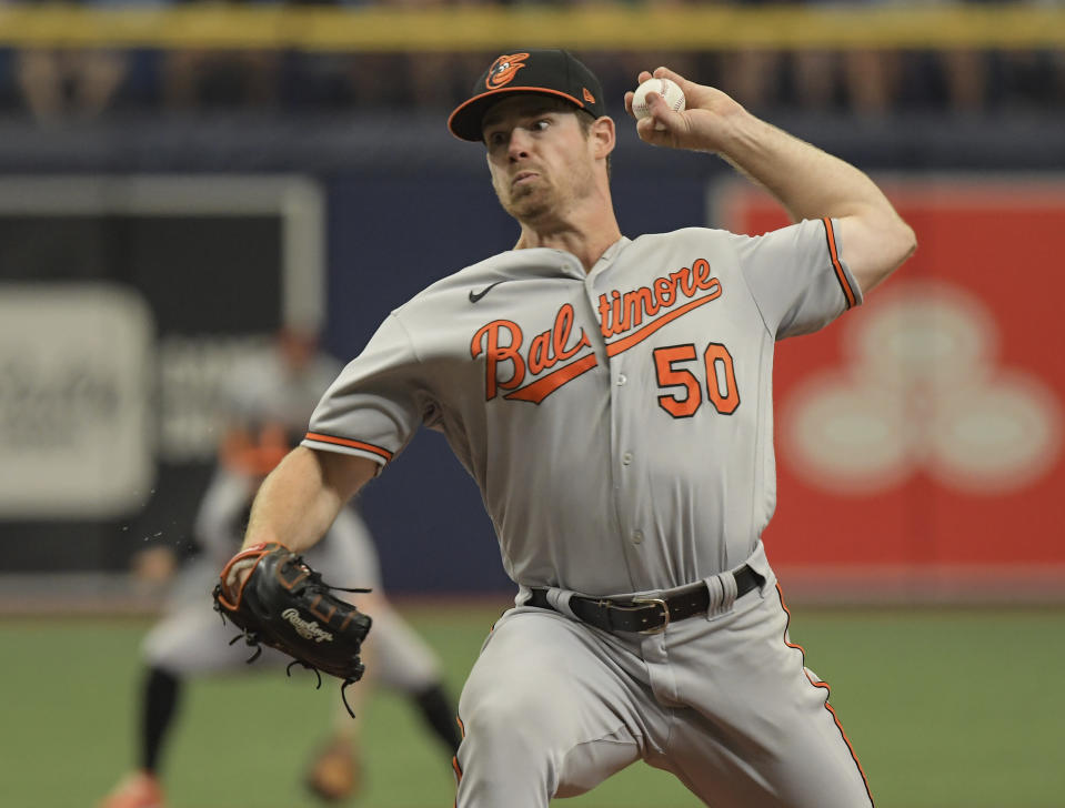 Baltimore Orioles starter Bruce Zimmerman pitches against the Tampa Bay Rays during the first inning of a baseball game Sunday, June 13, 2021, in St. Petersburg, Fla. (AP Photo/Steve Nesius)