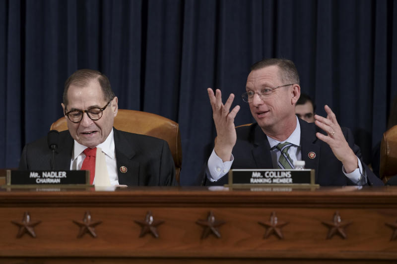 House Judiciary Committee Chairman Jerrold Nadler, D-N.Y., left, joined by Rep. Doug Collins, R-Ga., the ranking member, convenes the panel to consider the investigative findings in the impeachment inquiry against President Donald Trump, on Capitol Hill in Washington, Monday, Dec. 9, 2019. (AP Photo/J. Scott Applewhite)