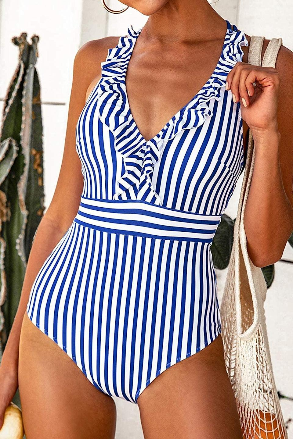 <p>The <span>Cupshe Women's V Neck One Piece Swimsuit Ruffled Back Cross Swimwear</span> ($30) is so flattering, we're ordering one in every color.</p>