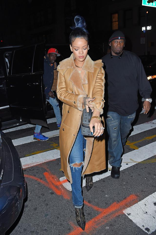 <p>Rihanna was recently seen in New York City sporting a sophisticated shearling coat from the Parisian luxury brand.</p>