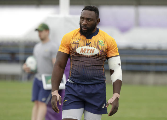 South Africa's Tendai Mtawarira reacts during a training session in Tokyo, Japan, Thursday, Oct. 17, 2019. South Africa plays Japan in a Rugby World Cup quarterfinal on Sunday Oct 20. (AP Photo/Mark Baker)