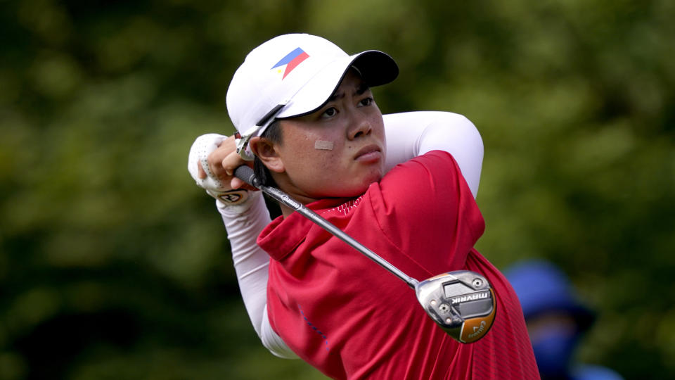 Yuka Saso of the Philippines during the second round of the women's golf competiton at the 2020 Tokyo Olympics.