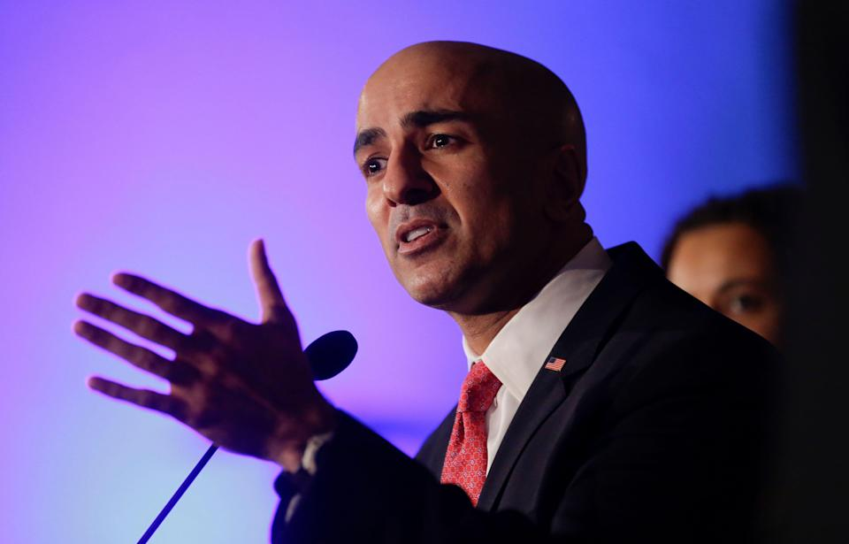 California gubernatorial candidate Neel Kashkari speaks during a election night rally Tuesday, Nov. 4, 2014 in Costa Mesa, Calif. (AP Photo/Chris Carlson)