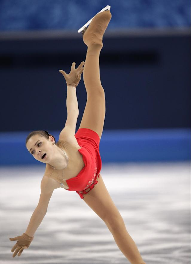 Adelina Sotnikova of Russia competes in the women's short program figure skating competition at the Iceberg Skating Palace during the 2014 Winter Olympics, Wednesday, Feb. 19, 2014, in Sochi, Russia