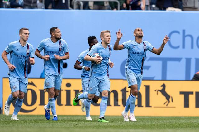 After a rough start, New York City FC is on a roll thanks in part to a formation change and Brazilian striker Haber (right), who has two goals and two assists during NYCFC current 3W-0L-1T run. (Ira L. Black/Getty)