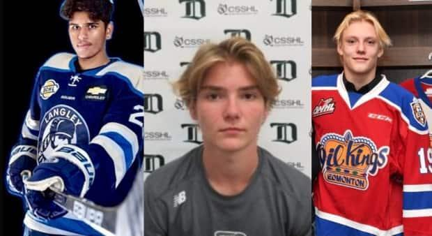 From left, Ronin Sharma, Parker Magnuson and Caleb Reimer were killed in a car crash in Surrey, B.C., early Saturday. (Langley Rivermen/Edmonton Oil Kings/Delta Hockey Academy - image credit)