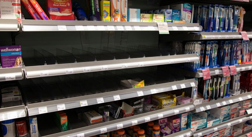 This photo taken on March 7 this year shows shelves cleared on painkillers (Getty)