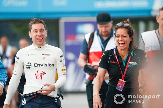 "Robin Frijns, Virgin Racing, Presenter Amanda Stretton <span class=""copyright"">Sam Bloxham / Motorsport Images</span>"