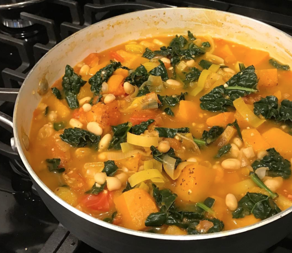 """<p>Because who said soups have to be smooth? <a rel=""""nofollow noopener"""" href=""""https://www.bbcgoodfood.com/recipes/1732/the-river-cafes-winter-minestrone"""" target=""""_blank"""" data-ylk=""""slk:River Cafe's Winter Minestrone Soup"""" class=""""link rapid-noclick-resp"""">River Cafe's Winter Minestrone Soup</a> is thick, filling and packed with veg. [Photo: Instagram/sweatdaily_keepitsimple] </p>"""
