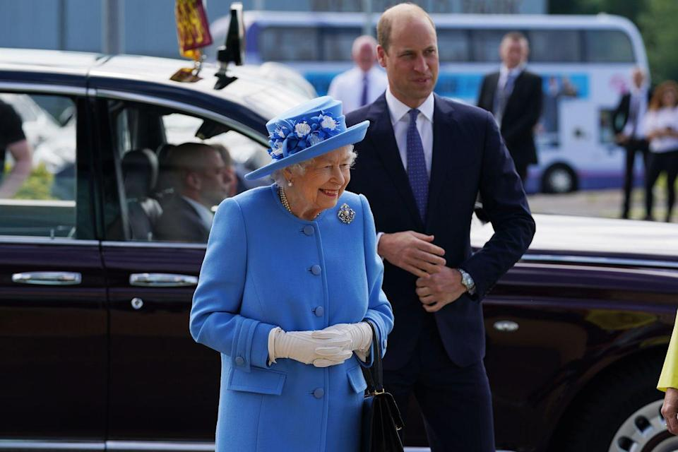 <p>The queen and Prince William arrive at AG Barr's factory, the manufacturing center of the Irn-Bru drink, in Cumbernauld, Scotland, on June 28, 2021. </p>