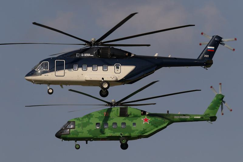 Two Russian Helicopters Mi-38 helicopters near Moscow in September 2019.