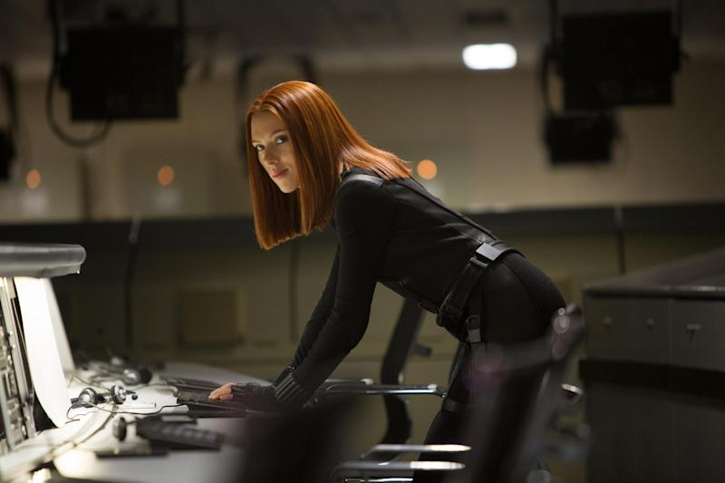 """This image released by Marvel shows Scarlett Johansson in a scene from the film, """"Captain America: The Winter Soldier."""" (AP Photo/Marvel-Disney, Zade Rosenthal, file)"""
