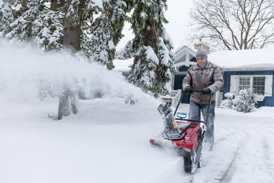 Always follow manufacturer's safety procedures and never put your hand inside the snow thrower. Always use a clean out tool or stick to clear a clog. Be sure that children and pets are safely inside and not near outdoor power equipment while it's being operated.