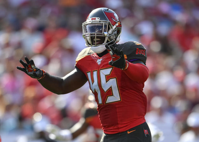 Buccaneers head coach Bruce Arians said that linebacker Devin White was held out of most of Thursday's game for precautionary reasons. (Roy K. Miller/Icon Sportswire via Getty Images)