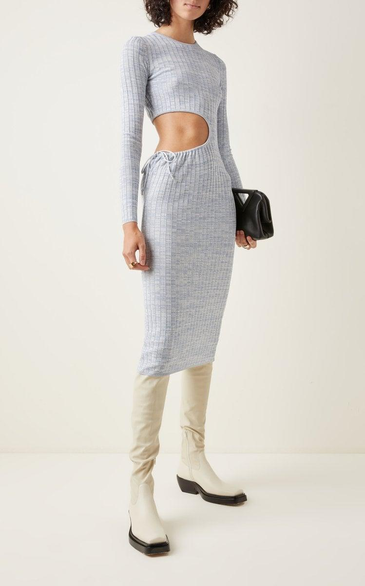 <p>We first saw this <span>Aya Muse Shale Cutout Ribbed-Knit Midi Dress</span> ($465) on Instagram, and we knew it had to be ours. The blue knit, the side cutout, it's all so amazing.</p>