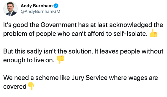 Greater Manchester mayor Andy Burnham criticised the level of payment for those told to self-isolate. (Twitter)