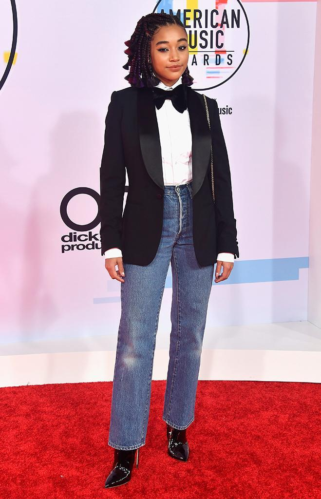 <p>Amandla Stenberg attends the 2018 American Music Awards at Microsoft Theater on Oct. 9, 2018, in Los Angeles. (Photo: Frazer Harrison/Getty Images) </p>