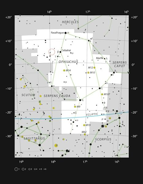A handout from the European Southern Observatory shows the location (circled in red) of Barnard's Star