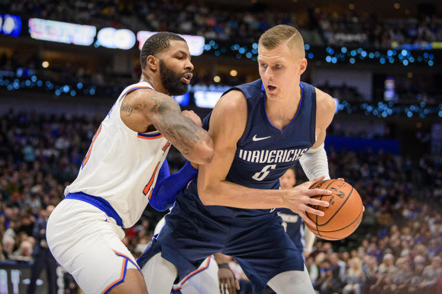 "<a class=""link rapid-noclick-resp"" href=""/nba/players/5464/"" data-ylk=""slk:Kristaps Porzingis"">Kristaps Porzingis</a> did not receive a warm welcome in his return to Madison Square Garden. (Jerome Miron/USA Today Sports)"