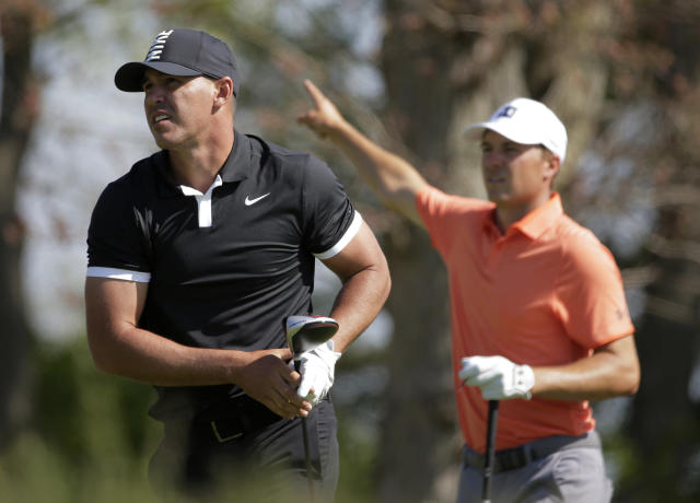 Brooks Koepka watches his drive off the seventh tee during the third round of the PGA Championship golf tournament, Saturday, May 18, 2019, at Bethpage Black in Farmingdale, N.Y. (AP Photo/Seth Wenig)