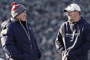 Bill Belichick and Josh McDaniels at practice this week