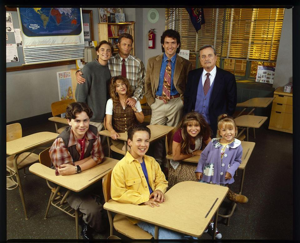"""<p>The non-adult members of the cast didn't just play classmates on the show, they were learning together in real life. Though it wasn't the set <a href=""""https://parade.com/40375/erinhill/1221-danielle-fishel-boy-meets-world/"""" rel=""""nofollow noopener"""" target=""""_blank"""" data-ylk=""""slk:classroom"""" class=""""link rapid-noclick-resp"""">classroom</a> you saw on tv, there was a classroom near enough for Ben Savage, Danielle Fishel, Rider Strong, and Will Friedle to work with teachers when the camera wasn't rolling.</p>"""