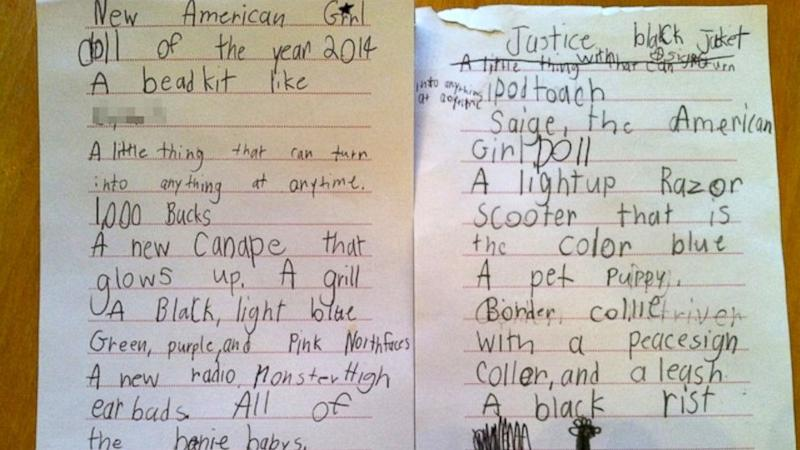 7-Year-Old Girl's Over-The-Top Christmas Wish List Because, Why Not? (ABC News)
