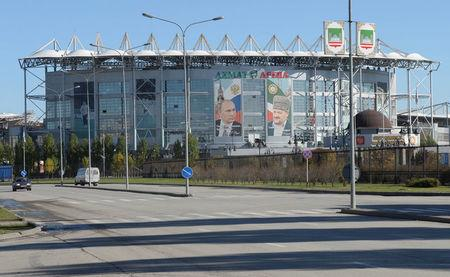 FILE PHOTO: A general view shows the Akhmat Arena stadium in Grozny