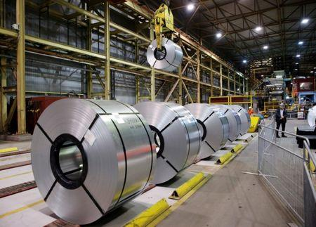 FILE PHOTO: Rolled up steel sits in the ArcelorMittal Dofasco steel plant in Hamilton