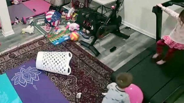 PHOTO: The Consumer Product Safety Commission has released video images showing a child beimng caught under a Peloton treadmill. (Consumer Product Safety Commission)