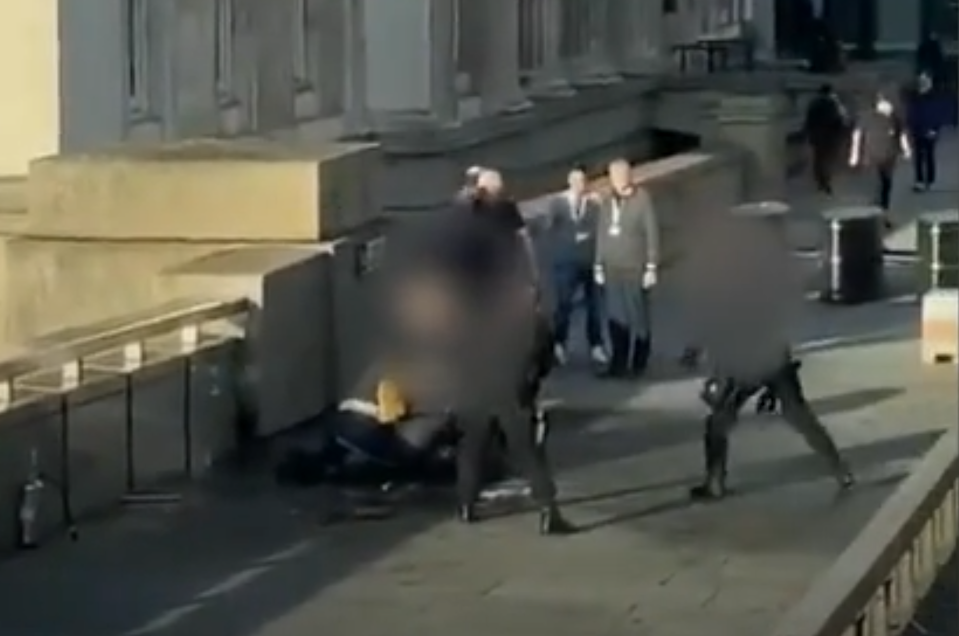 Members of the public and police tackled the suspect.