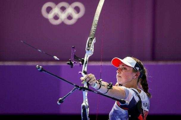 PHOTO: Bryony Pitman of Great Britain is seen in action during the Women's Team 1/8 Elimination Round between Great Britain and Italy during the Archery events of the Tokyo 2020 Olympic Games at the Yumenoshima Park in Tokyo, Japan, 25 July 2021. (DIEGO AZUBEL/EPA-EFE/Shutterstock)