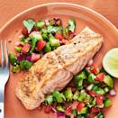 <p>We made this chopped salad with pico de gallo in mind. Tangy tomatillos add fresh crunch to the classic mixture of tomatoes, cilantro and onion to brighten up this broiled salmon recipe.</p>