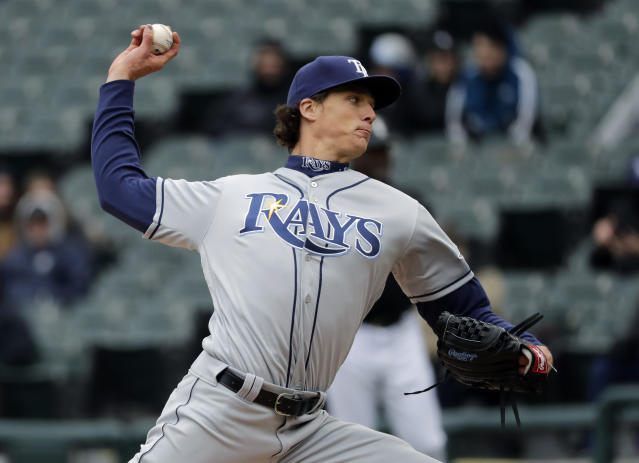 Tampa Bay Rays starting pitcher Tyler Glasnow throws against the Chicago White Sox during the first inning of a baseball game in Chicago, Wednesday, April 10, 2019. (AP Photo/Nam Y. Huh)