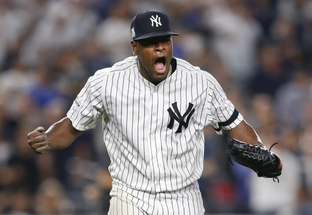 Luis Severino celebrates during his stellar ALDS Game 4 start against the Indians. (AP)