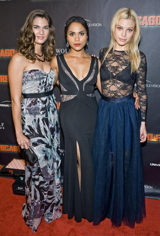 "Teri Reeves, Monica Raymund and Lauren German attend NBC's ""Chicago Fire"" premiere at the Chicago History Museum on October 2, 2012 in Chicago, Illinois."