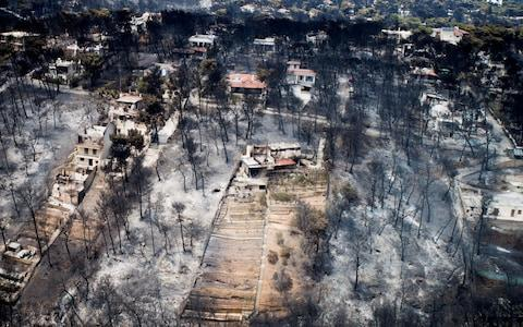 An aerial view shows burnt houses and trees following a wildfire in the village of Mati - Credit: REUTERS/EUROKINISSI