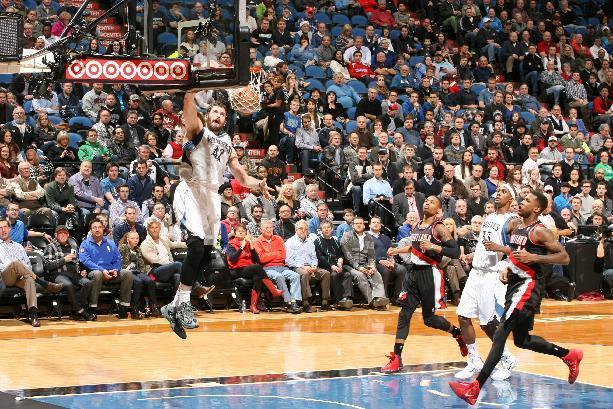 MINNEAPOLIS, MN - DECEMBER 18: Kevin Love #42 of the Minnesota Timberwolves dunks against the Portland Trail Blazers on December 18, 2013 at Target Center in Minneapolis, Minnesota. (Photo by David Sherman/NBAE via Getty Images)