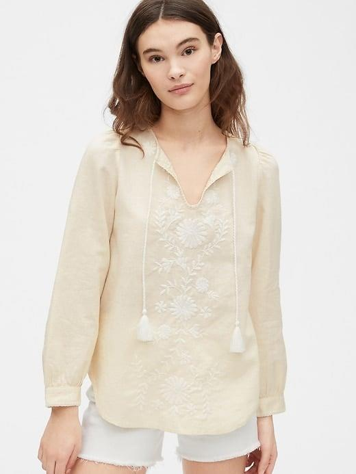 <p>This pale <span>Gap Embroided Tie-Front Top in Linen-Cotton</span> ($45, originally $70) has us planning for summer already. </p>