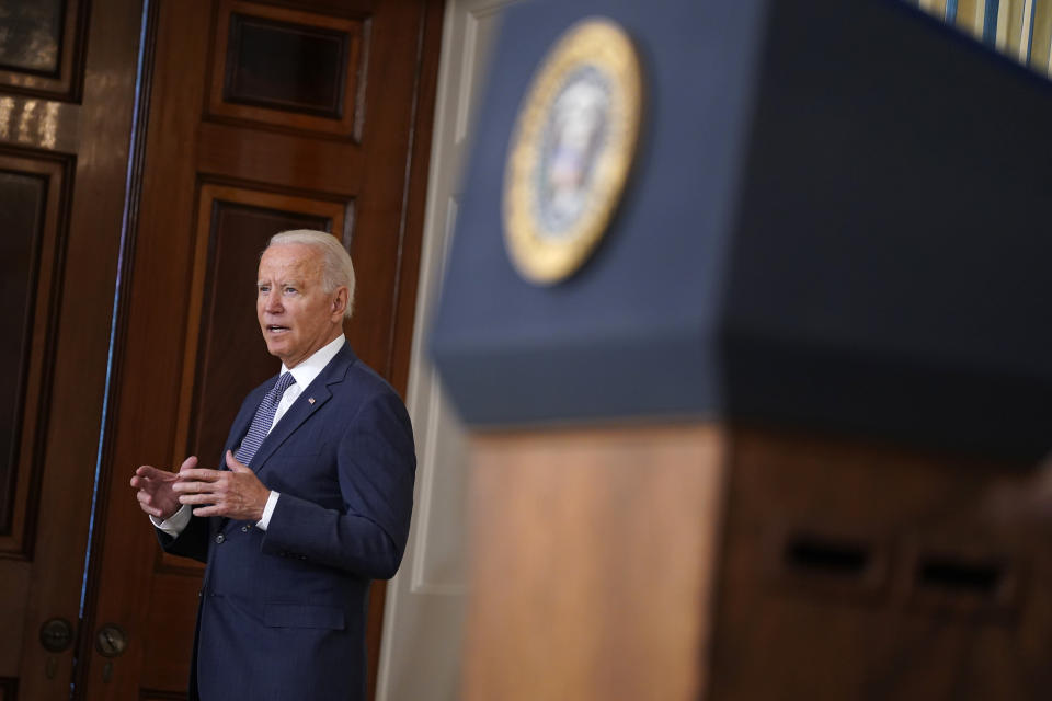 President Joe Biden speaks after signing an executive order aimed at promoting competition in the economy, in the State Dining Room of the White House, Friday, July 9, 2021, in Washington. (AP Photo/Evan Vucci)