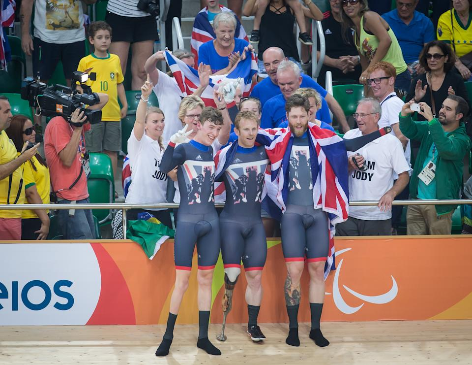 A triumphant Butterworth (R) with Cundy (C) and Rolfe (L) pose following their Rio 2016 gold for ParalympicsGB (Credit: onEdition)